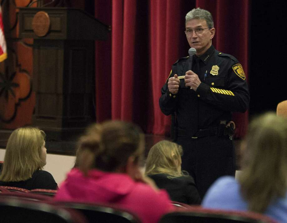 San Antonio police chief William McManus speaks to attendees during a women in policing event hosted by the San Antonio Police Dept., Texas Parks & Wildlife, and the FBI, Saturday, Feb. 11, 2017, at Texas A&M San Antonio. (Darren Abate/For the San Antonio Express-News) Photo: Darren Abate, FRE / San Antonio Express-News / San Antonio Express-News