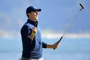 PEBBLE BEACH, CA - FEBRUARY 12:  Jordan Spieth reacts after putting out on the 18th green to win the AT&T Pebble Beach Pro-Am at Pebble Beach Golf Links on February 12, 2017 in Pebble Beach, California.  (Photo by Harry How/Getty Images)