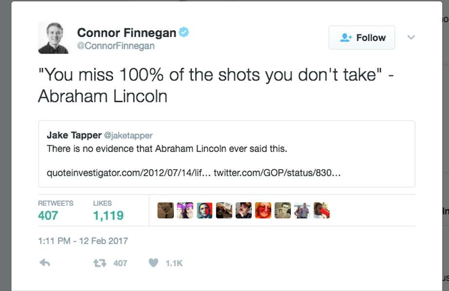 Twitter users supply incorrect quotes of Abraham Lincoln after the GOP sent out a tweet using a quote that is often attributed — but never proven — to Lincoln. Photo: Twitter Screenshot