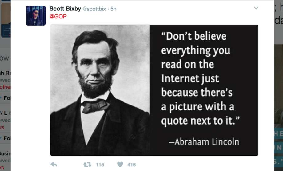 Lincoln Quotes Adorable GOP Mistakenly Tweets Fake Abraham Lincoln Quote Internet Writes