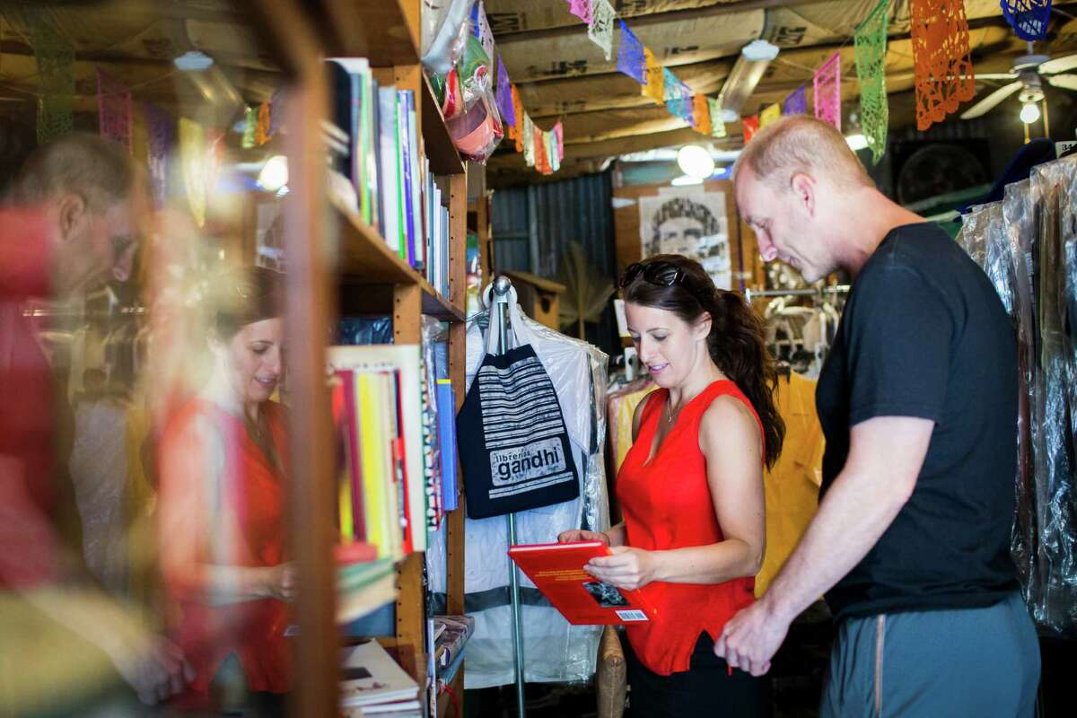 April Rice and Mike McRoberts shop at Corazon, a local small business that imports many of its items.