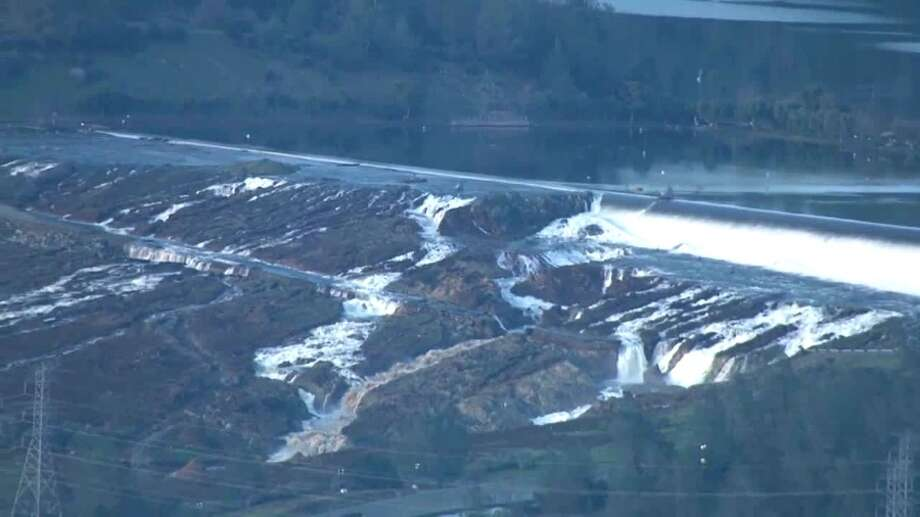 The emergency spillway at the Oroville Dam is seen on Sunday, Feb. 12, 2017. Photo: KCRA