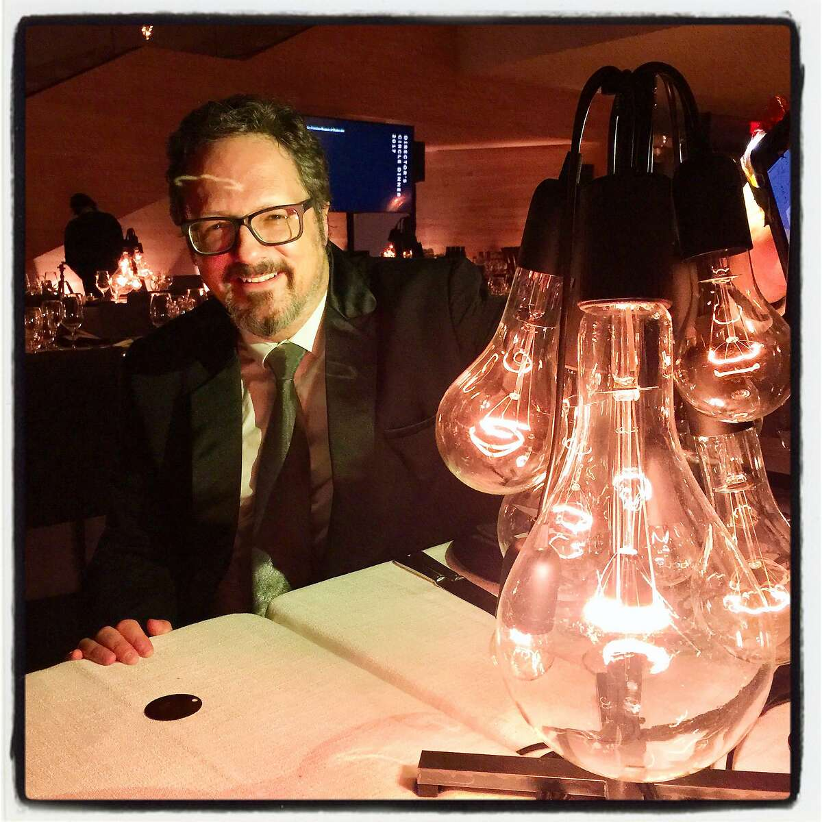 Artist Rafael Lozano-Hemmer and one of his centerpieces at SFMOMA Director's Circle Dinner. Feb. 8 2017.