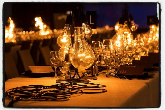 Artist Rafael Lozano-Hemmer created heartbeat-pulsed bulb centerpieces for SFMOMA Director's Circle Dinner. Feb. 8, 2017.