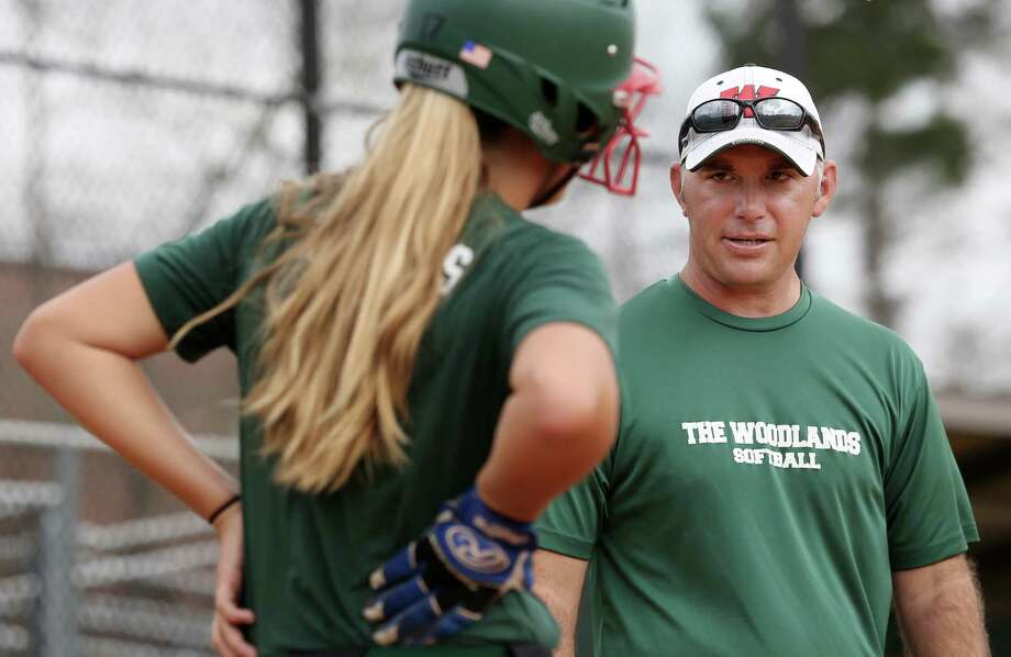 The Woodlands softball coach Tim Borths, right, will be tasked with replacing the late Richard Jorgensen. Photo: Yi-Chin Lee, Staff / © 2017  Houston Chronicle