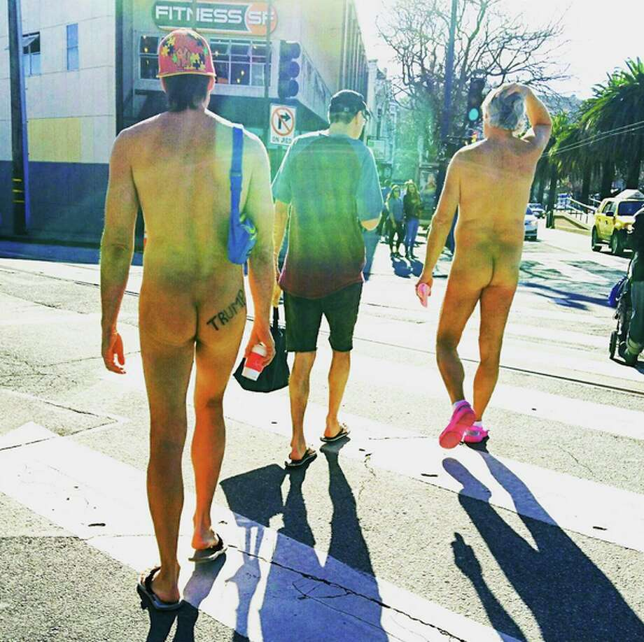 Participants in the Nude Valentine's Day Parade walk down Market St. in San Francisco on Sunday, Feb. 12, 2017. Photo: Courtesy / Steve Hellman
