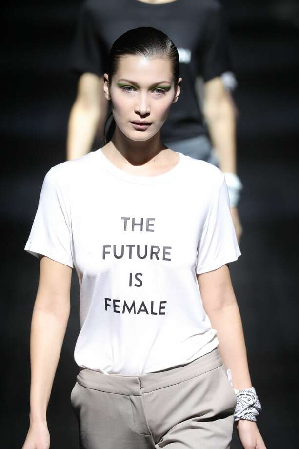"""The Future Is Female""Bella Hadid walks the runway at Prabal Gurung show during New York Fashion Week. Photo: Antonio De Moraes Barros Filho/FilmMagic"