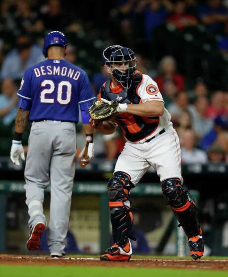 With the addition of Brian McCann in the offseason, Max Stassi, right, faces more competition at catcher. Photo: Karen Warren, Staff Photographer / 2016 Houston Chronicle
