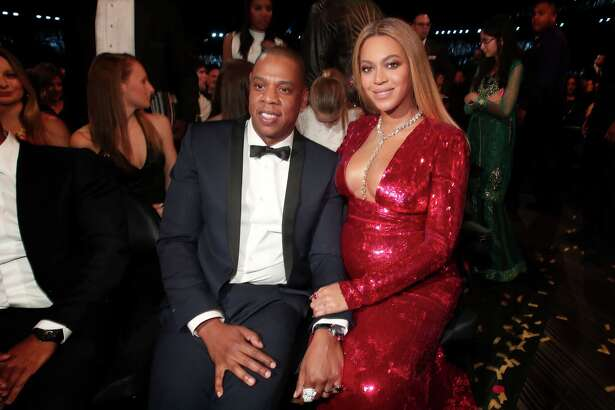 LOS ANGELES, CA - FEBRUARY 12: Hip Hop Artist Jay-Z and singer Beyonce during The 59th GRAMMY Awards at STAPLES Center on February 12, 2017 in Los Angeles, California.