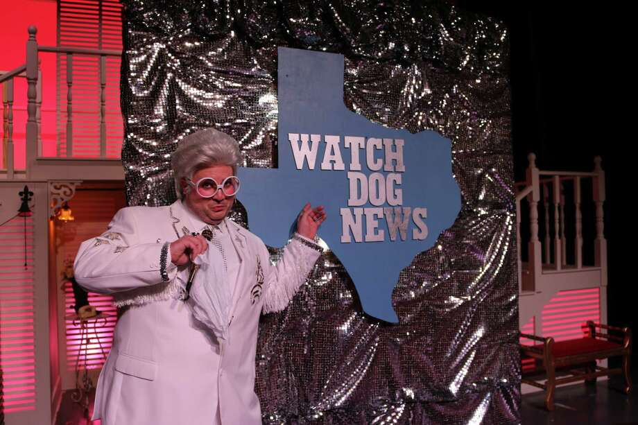 """Chad Ryan McCallon of Friendswood portrays hard-to-ignore television reporter Melvin P. Thorpe in Art Park Players' production of """"The Best Little Whorehouse in Texas."""""""