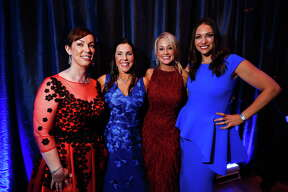 Shannon Beirne Wiesedeppe, Jennifer Scheifley Roberts, Amy Dunn and Beth Zdeblick at the Junior League of HoustonÕs 69th Annual Charity Ball on Friday, Feb. 10, 2017, in Houston. (Annie Mulligan / Freelance)