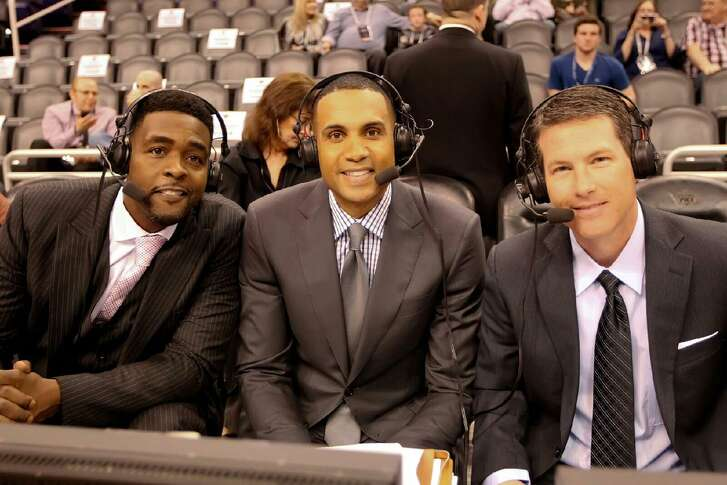 Brian Anderson (right) works an NBA game for TNT in 2015 with former star players Grant Hill (center) and Chris Webber.