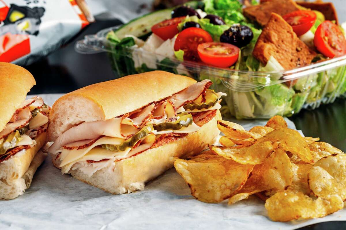 Instead of a turkey sub from Subway or Schlotzsky's... sample the Turkey & Swiss Po' Boy at Houston-based small chain Antone's Famous Po' Boys. The one pictured here is made with roasted turkey, Swiss cheese, mayo and bread & butter pickles served on toasted Italian bread by Royal Bakery.