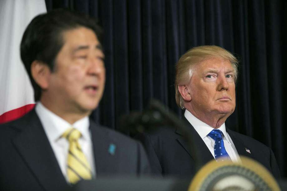President Donald Trump and Japanese Prime Minister Shinzo Abe quickly arranged a news conference to address the launch. Photo: Al Drago /New York Times / NYTNS