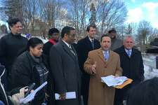 State Senate Majority Leader Bob Duff, D-Norwalk, state Rep. Bruce Morris, D-Norwalk, state Rep. Chris Perone, D-Norwalk and Norwalk Mayor Harry Rilling presented an alternative facilities plan for Norwalk Public Schools Monday morning at a press conference at Jefferson Elementary School.