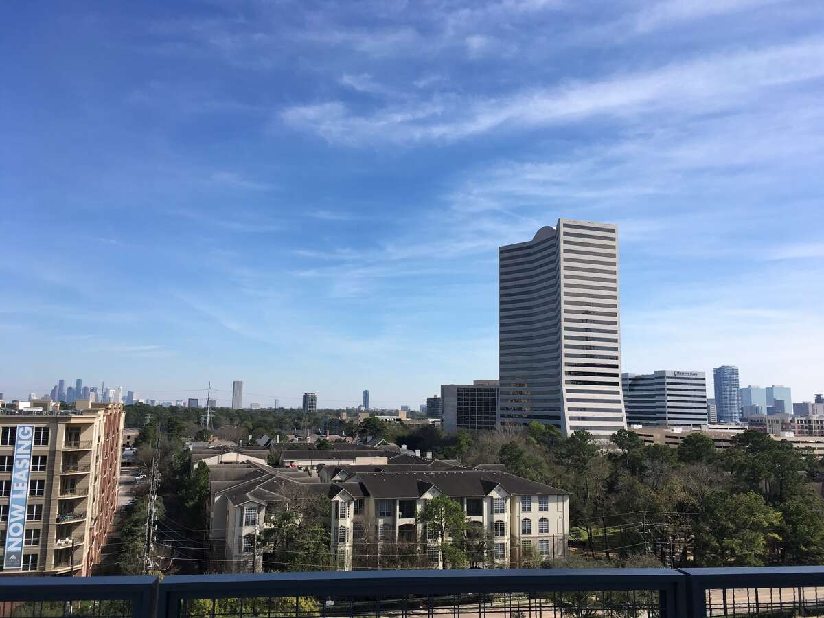 The view of Amegy's former headquarters at 4400 Post Oak Parkway from its new tower at 1717 W. Loop. The space, totaling 175,000 square feet, is being marketed for lease by owner Shorenstein Properties.