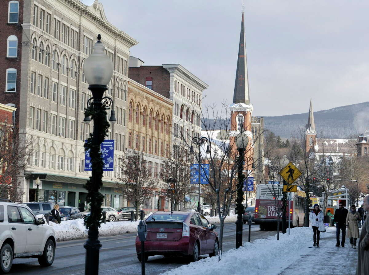 A view looking down Main Street in the downtown district on Wednesday, Jan. 14, 2015, in North Adams, MA. (Paul Buckowski / Times Union)