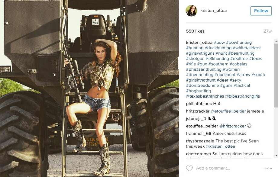 Model and taxidermist Kristen Ottea, 25, stuns her more than 10,000 Instagram followers with portfolio snapshots and the occasional bikini pic with a firearm. Photo: Instagram Screenshot