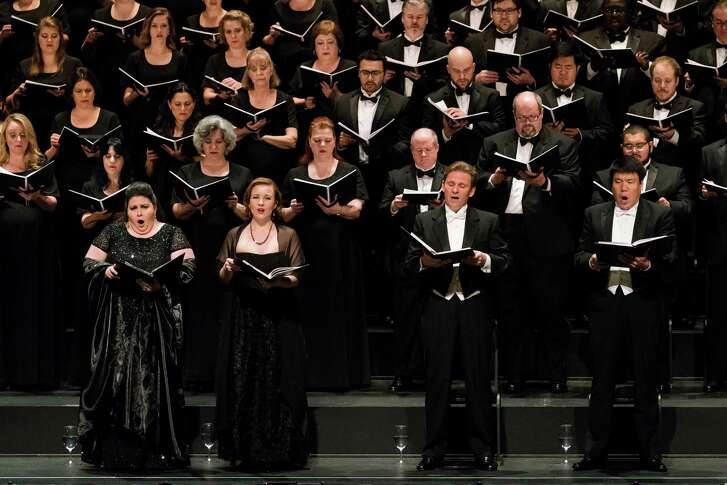 "Angela Meade, from left, soprano; Sasha Cooke, alto; Alexey Dolgov, tenor; and Peixin Chen, bass; perform Verdi's ""Requiem"" for Houston Grand Opera."