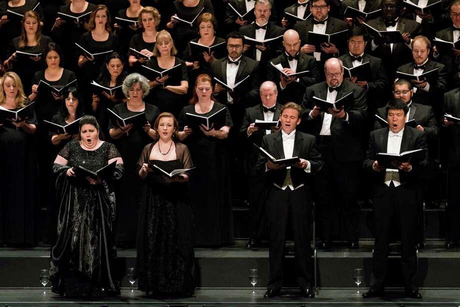"Angela Meade, from left, soprano; Sasha Cooke, alto; Alexey Dolgov, tenor; and Peixin Chen, bass; perform Verdi's ""Requiem"" for Houston Grand Opera. Photo: Lynn Lane / Lynn Lane"