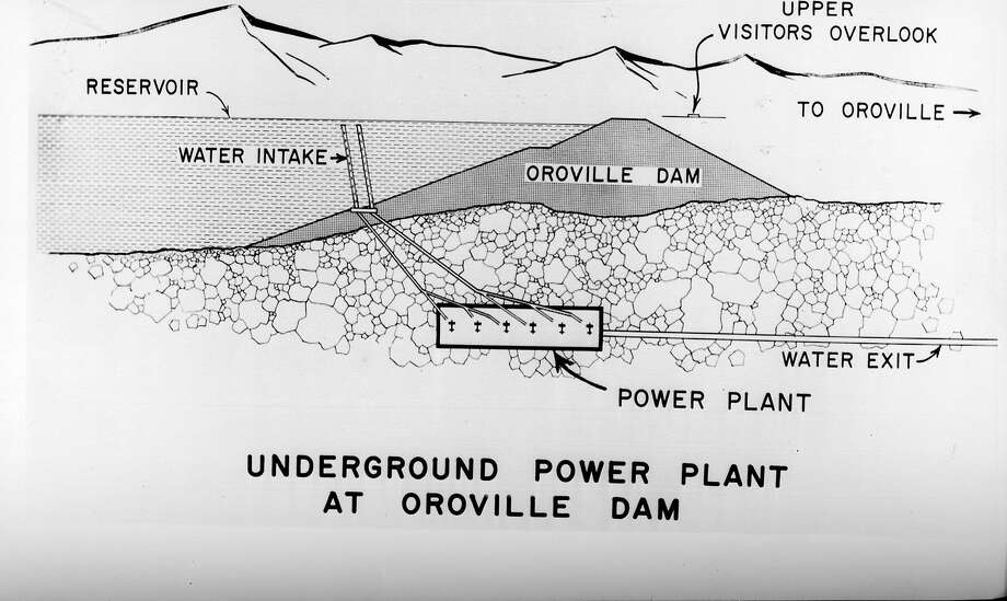 An artist drawing from May 23, 1963, shows how the underground power plant would be built beneath the Oroville Dam, along the Feather River. The plant would be the only one of its kind in the nation.
