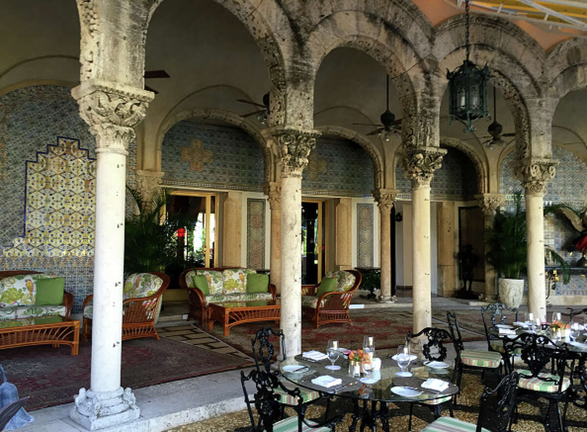 The tiled patio at Mar-a-Lago, a focal point of the estate.