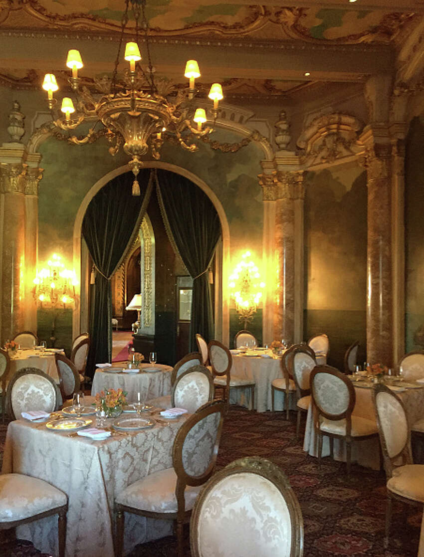 Elaborate gold dining room in Mar-a-Lago.