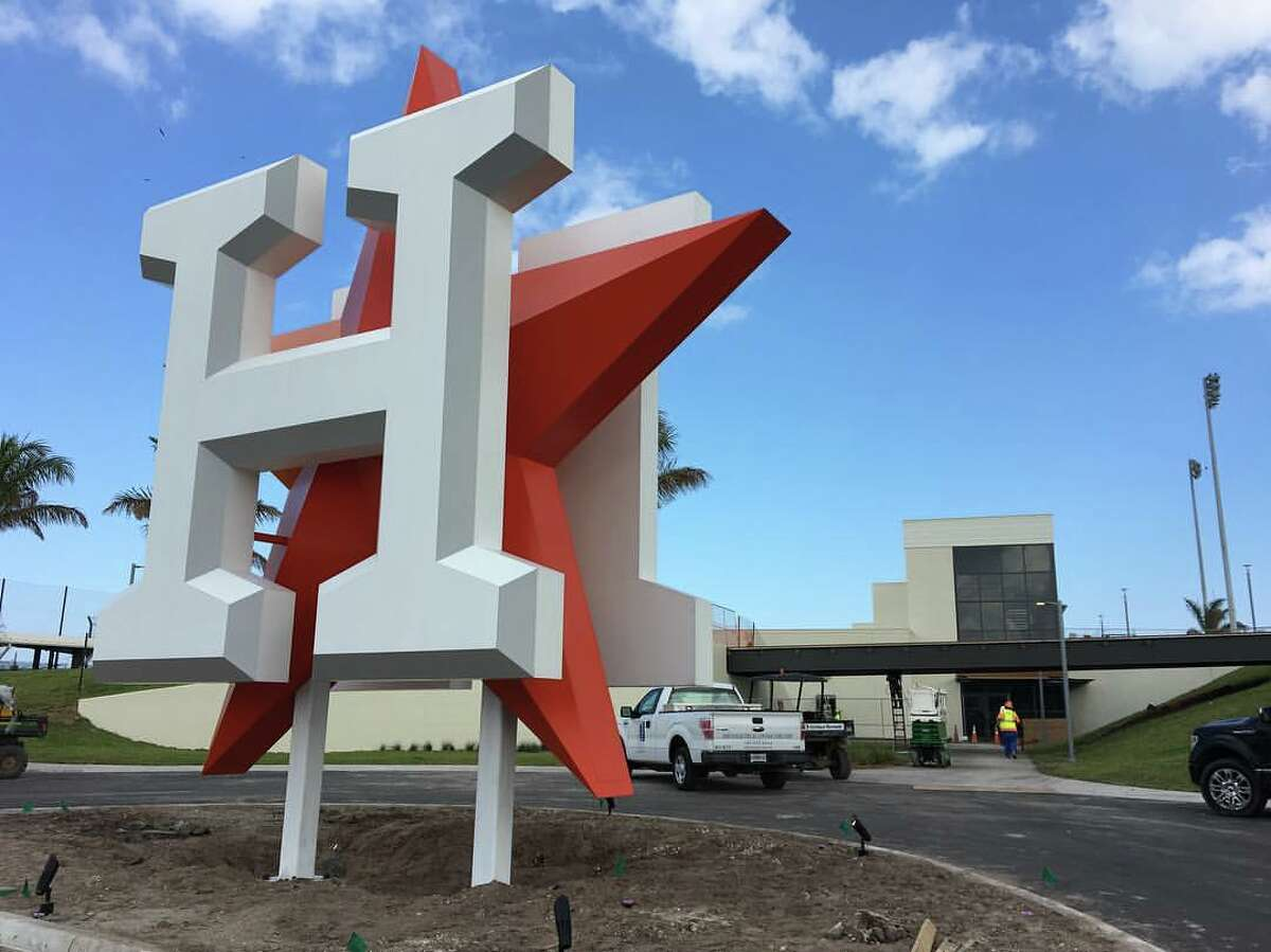 The Astros' West Palm marquee, which lights up at night, at the new spring training complex in West Palm Beach, Fla.