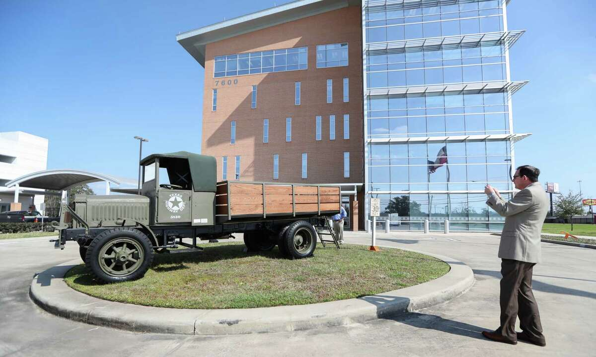 A refurbished World War I surplus truck used by the Texas Department of Transportation in its earliest years sits outside the TxDOT Houston office on Feb. 13, 2017.