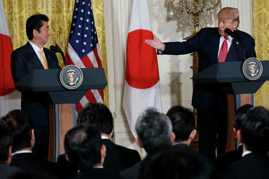 President Donald Trump speaks during a news conference with Japanese Prime Minister Shinzo Abe, Friday, Feb. 10, 2017, in the East Room of the White House in Washington. (AP Photo/Evan Vucci) Photo: Evan Vucci, STF / Copyright 2017 The Associated Press. All rights reserved.