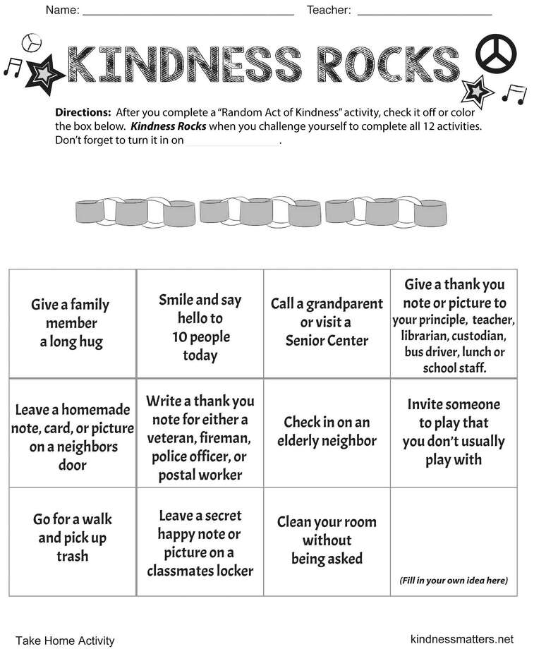 As part of Random Acts of Kindness Week — running Feb. 12-18 this year — teachers at several town elementary schools and one middle school handed out an acts of kindness BINGO-style card, challenging their students to complete 11 specific kind acts and one of their own choosing. Photo: Contributed / Contributed Photo / Fairfield Citizen