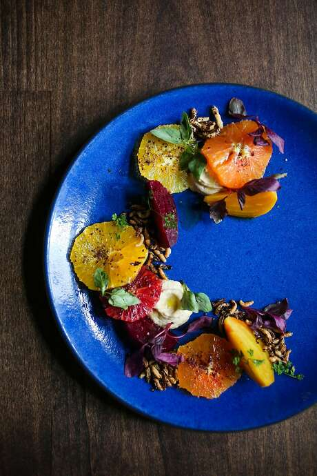 The roasted beet and winter citrus salad with fried onion mousse dish at Del Popolo restaurant in San Francisco, California, on Wednesday, Feb. 8, 2017.
