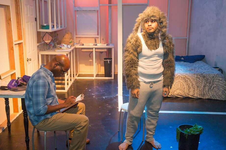 "Derek Jones (left) and Ed Berkeley in ""Where All Good Rabbits Go."" Photo: Katie Johnson, FaultLine Theater"