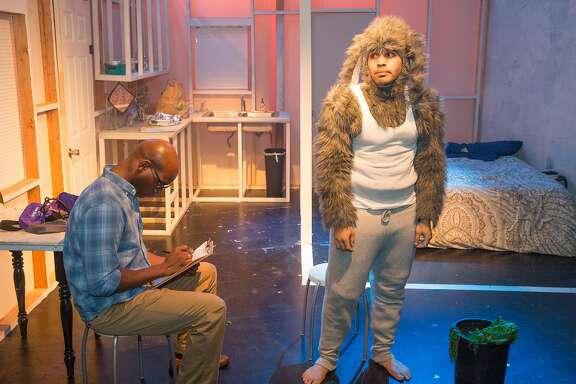 "From left: Derek Jones and Ed Berkeley in FaultLine Theater's ""Where All Good Rabbits Go."""