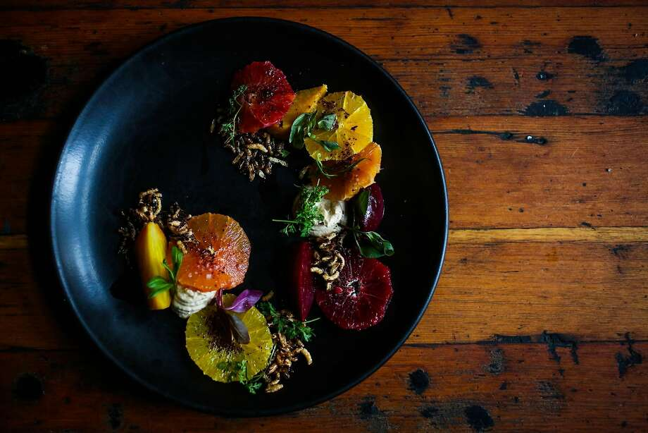 Marinated Beets With Winter Citrus, Fried Onion Mousse & Crispy Wild Rice Photo: Gabrielle Lurie, The Chronicle