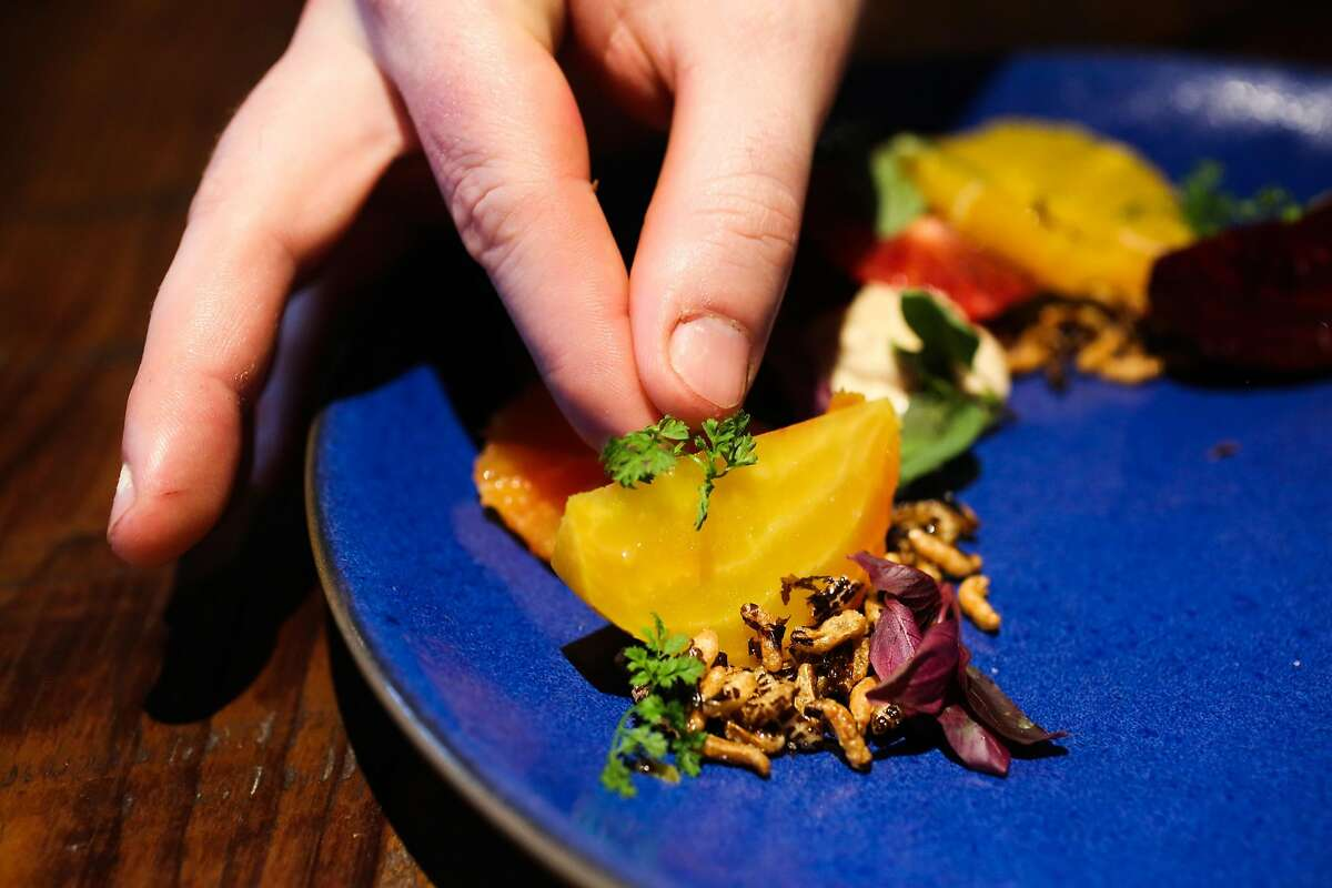Chef Jeffrey Hayden garnishes the roasted beet and winter citrus salad with fried onion mousse dish at Del Popolo restaurant in San Francisco, California, on Wednesday, Feb. 8, 2017.