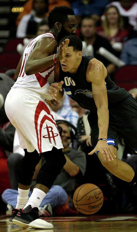 The Magic's Aaron Gordon finds no operating room against James Harden during the Rockets' victory last week. Photo: James Nielsen, Staff / © 2017  Houston Chronicle