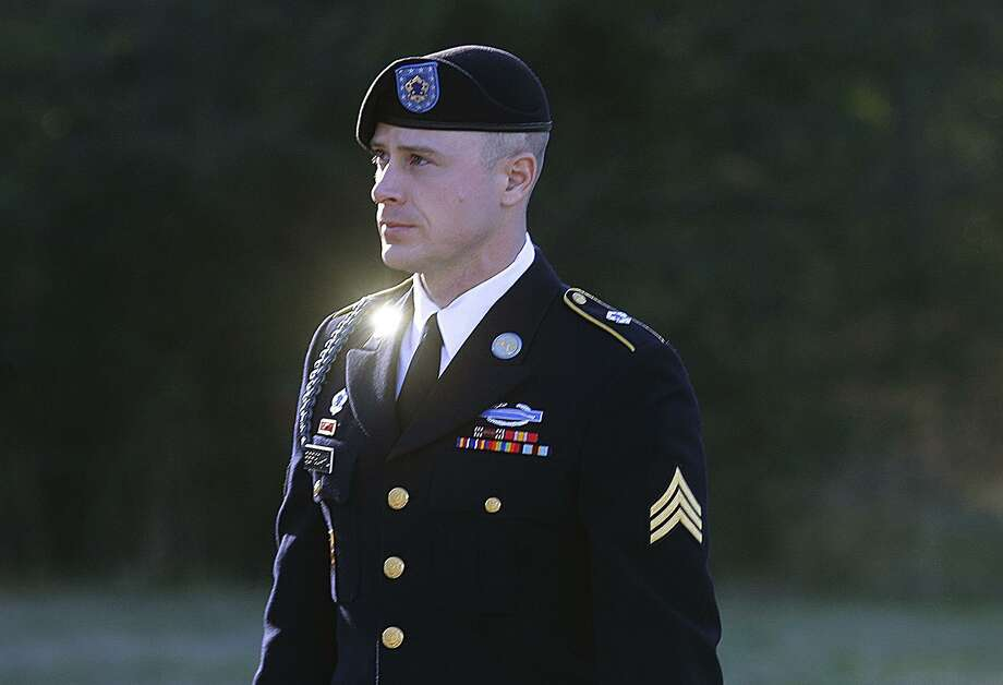 FILE - In this Jan. 12, 2016, file photo, Army Sgt. Bowe Bergdahl arrives for a pretrial hearing at Fort Bragg, N.C. On Monday, Bergdahl's attorneys tried to convince a military judge that President Donald Trump violated Bergdahl's due process rights by comments he made as a candidate last year. Bergdahl is scheduled for trial in April. He is accused of endangering the lives of soldiers who searched for him after he walked off his post in Afghanistan in 2009.(AP Photo/Ted Richardson, File) Photo: Ted Richardson /Associated Press / FR83921 AP
