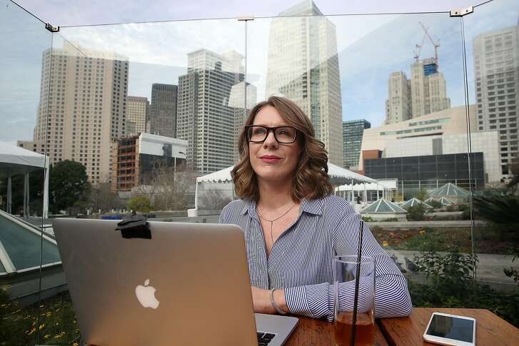 Co-founder Shannon Coulter of #GrabYourWallet, a group that targets boycotts against companies that stock items from Trump companies does some work on a patio of at Yerba Buena plaza on Monday, February 13, 2017, in San Francisco, Calif.