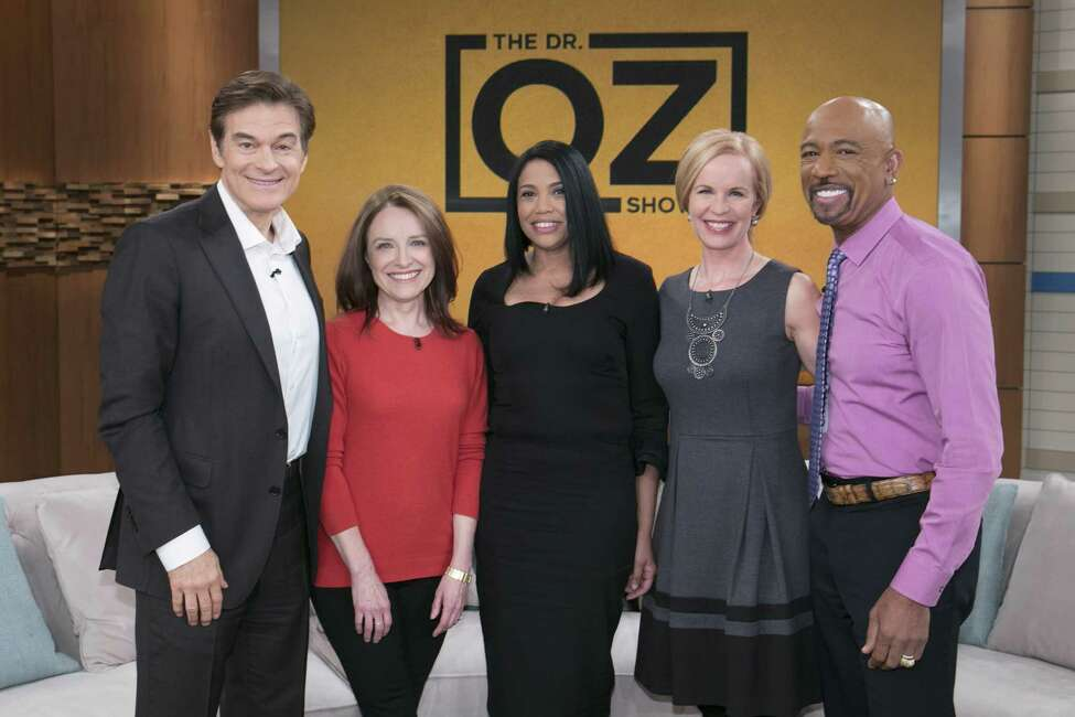 From left are Dr. Oz, researchers Sally Temple, patient Patricia Holman, Dr. Elisabeth Leamy and television personality Montel Williams. (Courtesy Sony Pictures Television)