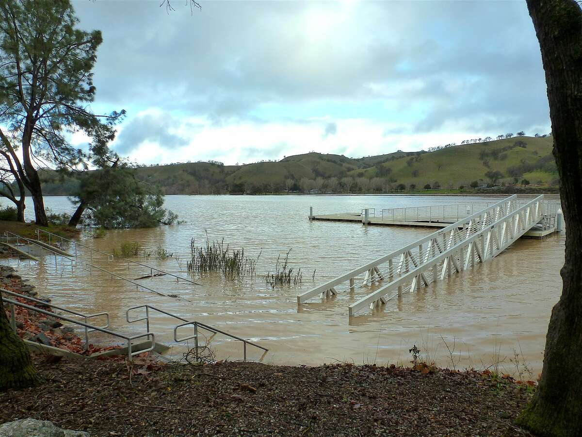 Park officials closed Del Valle Regional Park south of Livermore in the East Bay hills after flood water went over the banks in January and inundated this fishing platform, and other shoreline picnic sites and trails. The park is closed by flooding and park officials said it might re-open next week at the earliest.