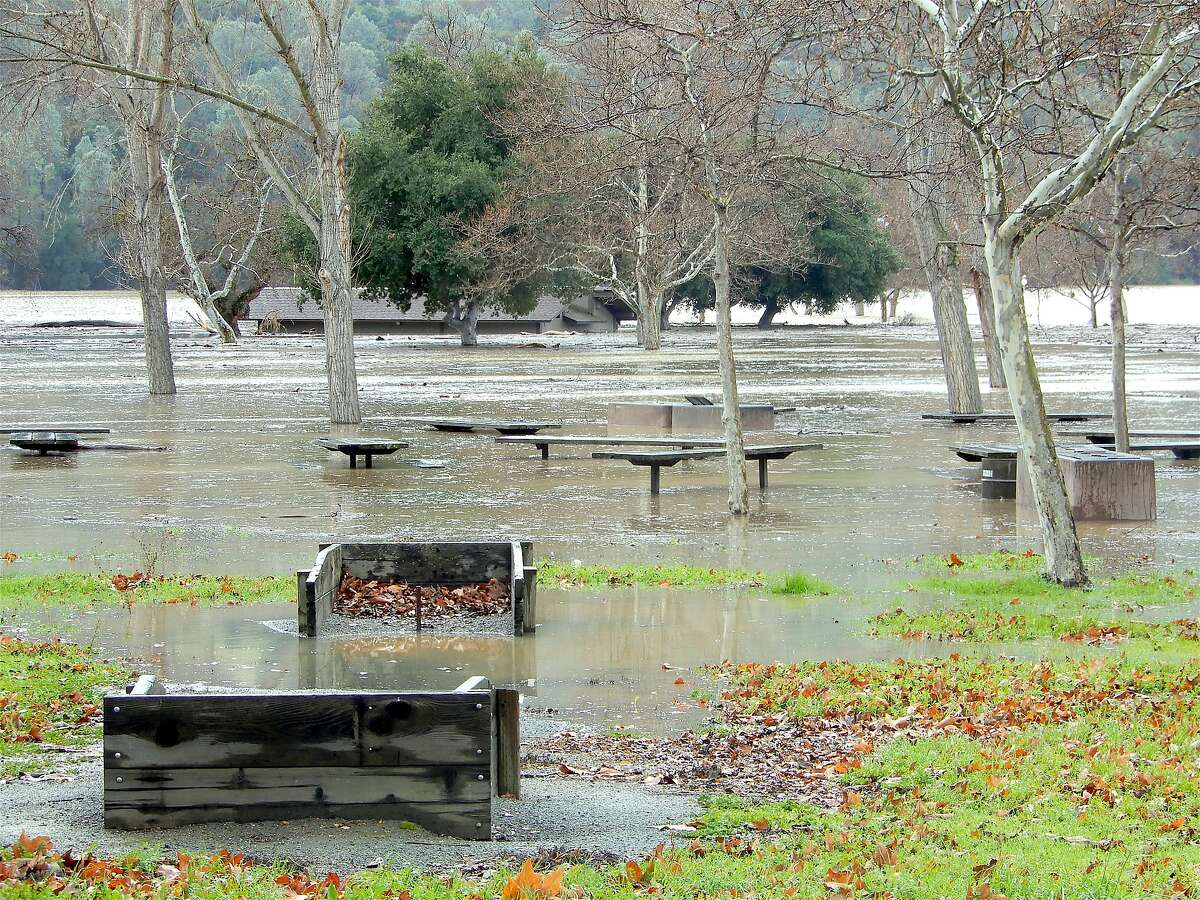 Park officials closed Del Valle Regional Park south of Livermore in the East Bay hills after flood water went over the banks in January and inundated this picnic site at Oak Point. Park officials said it might re-open next week at the earliest.
