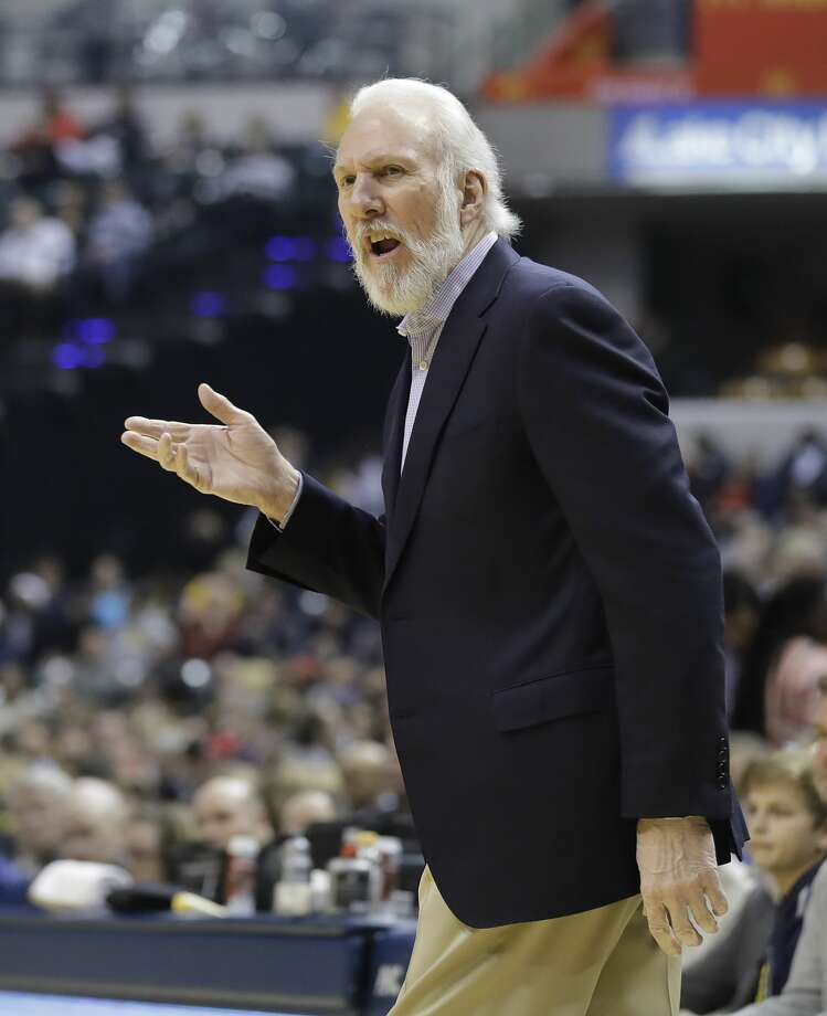San Antonio Spurs head coach Gregg Popovich questions a call during the first half of an NBA basketball game against the Indiana Pacers, Monday, Feb. 13, 2017, in Indianapolis. (AP Photo/Darron Cummings) Photo: Darron Cummings/Associated Press
