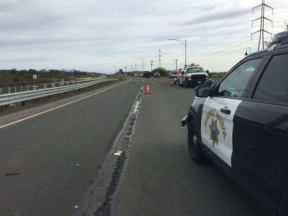 Crews Monday started construction to raise the road on Highway 37 in Novato, police said. Photo: Courtesy Of The California Highway Patrol / Courtesy Of The California Highway Patrol