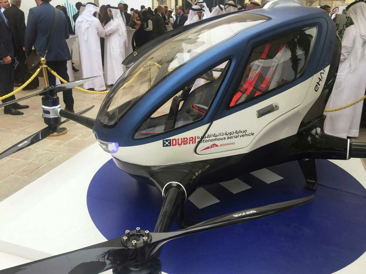 """Sci-fi tech that came true The eight-propeller EHang 184 appeared Monday at the World Government Summit in Dubai. """"We have actually experimented with this vehicle flying in Dubai's skies,"""" transportation official Mattar al-Tayer says. Click through to see science fiction technology in movies, TV that came true"""