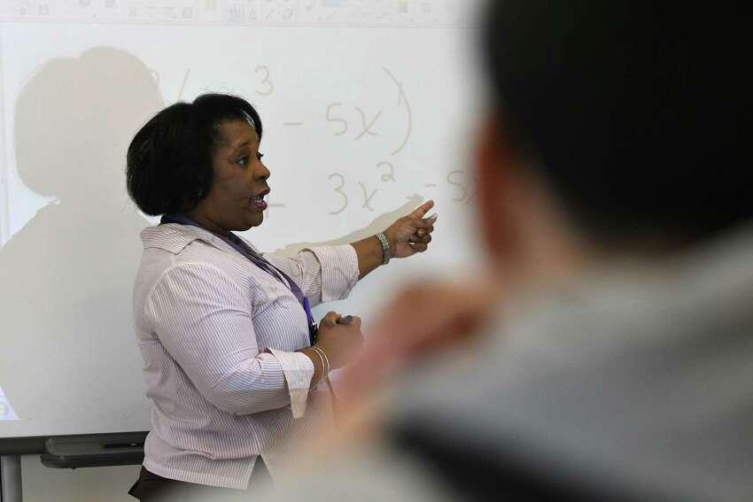 Alternative Learning Center math teacher Nicole Newman conducts an algebra class on Friday, Feb. 10, 2017, in Albany, N.Y. (Will Waldron/Times Union)
