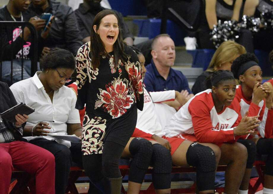 Taft coach Kelli Goble yells to her players during the second half of a playoff high school basketball game against Steele, Monday, Feb. 13, 2017, at Veterans Memorial High School in San Antonio. (Darren Abate/For the San Antonio Express-News) Photo: Darren Abate,  FRE / San Antonio Express-News