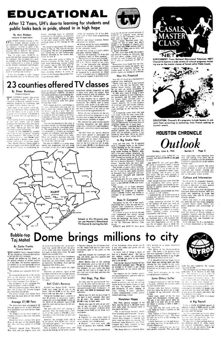 Houston Chronicle inside page - June 6, 1965 - section 2, page 5.  EDUCATIONAL TV  After 12 Years, UH's door to learning for students and public looks back in pride, ahead in high hope