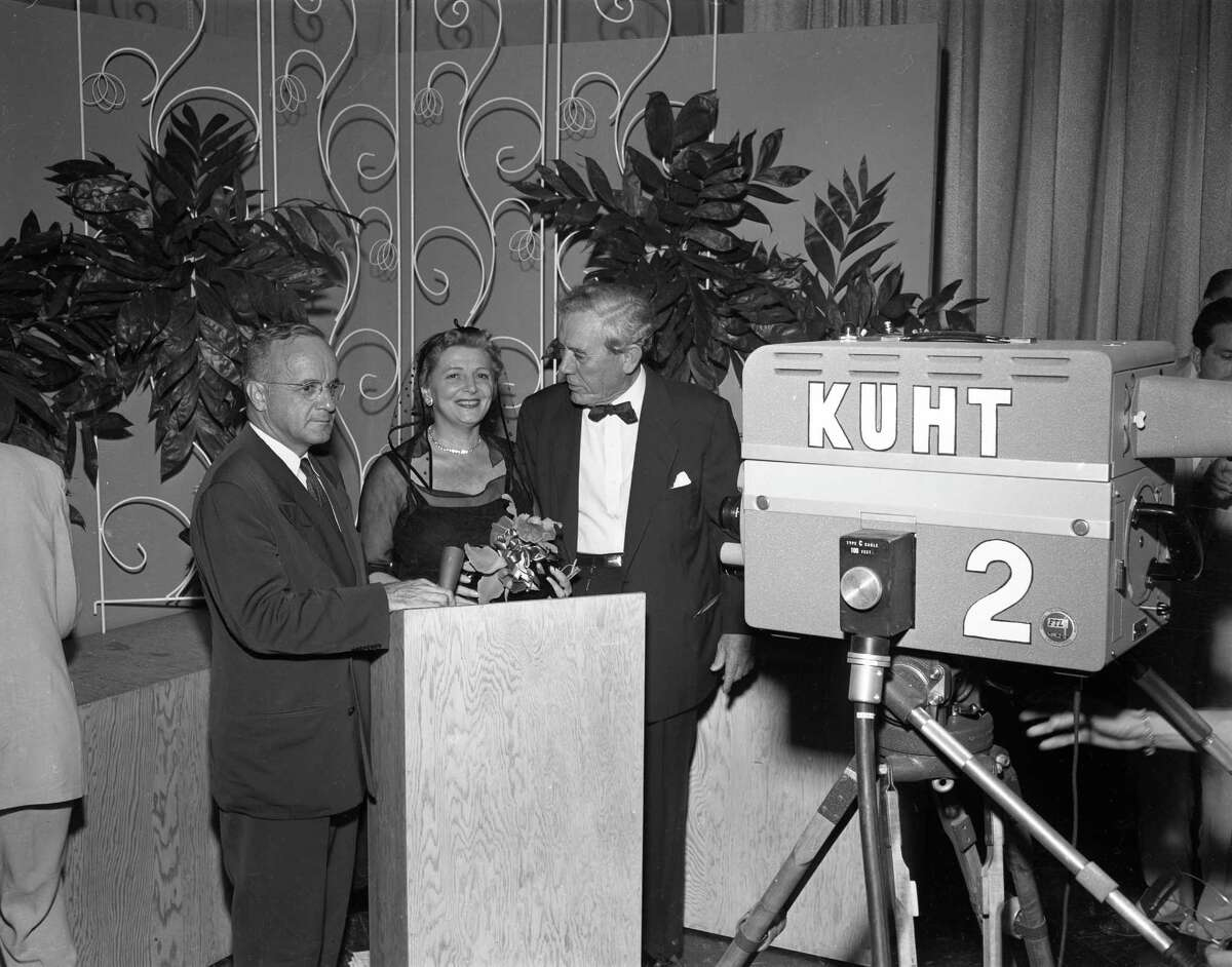 06/08/1953 - University of Houston president Dr. W.W. Kemmerer, FCC commissioner Frieda B. Hennock and Hugh Roy Cullen at the dedication of KUHT-TV, the first educational television station. Hennock has been the main force in setting aside 242 channels for educational television and was the principal speaker at the dedication ceremony.