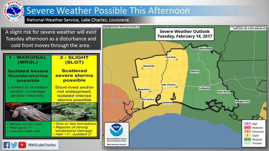 A slight risk for severe weather will exist Tuesday afternoon as a disturbance and cold front moves through the area, according to the National Weather Service. Photo: National Weather Service